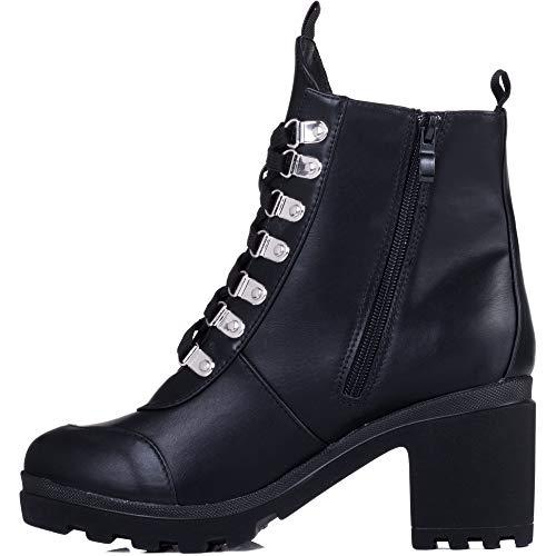 Bloc À Talon Four Bottines Femmes Similicuir Spylovebuy Ranger Chaussures Plateforme Noir tqIXn8Hw