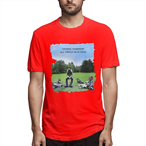 RHML George Harrison All Things Must Pass Men's Short Sleeve T-Shirt Red XXL (George Harrison All Things Must Pass T Shirt)