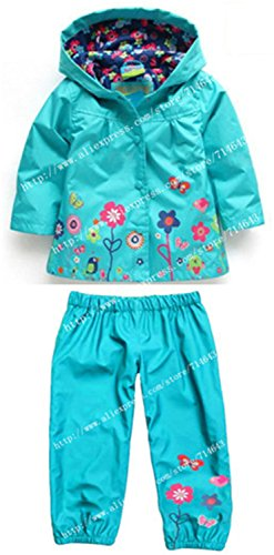 ROLO Spring Children Clothing Sets Sport Suit Tracksuit For Girls Clothes Suits Raincoat Coats Jackets Costume For Girls Kids Clothes Sky Blue (Blue Raincoat Costume)