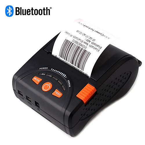 MUNBYN Mobile Thermal Receipt Printer 58MM Bluetooth Printer with Leather Belt Compatible with Android for Small Business ESC/POS,DO NOT Support Square