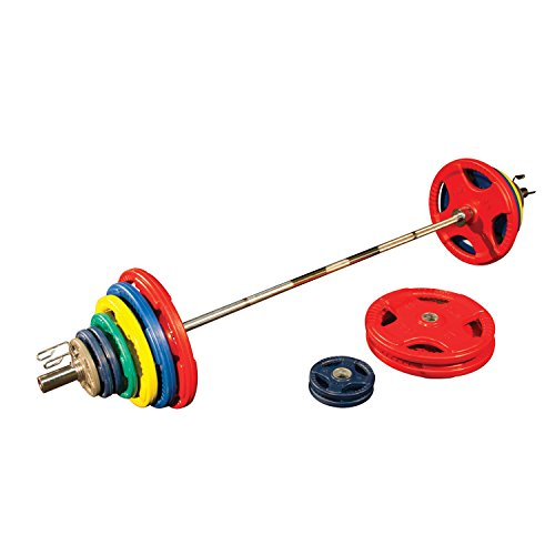 Body-Solid Colored Rubber Grip Olympic Set with Bar, 400 lb