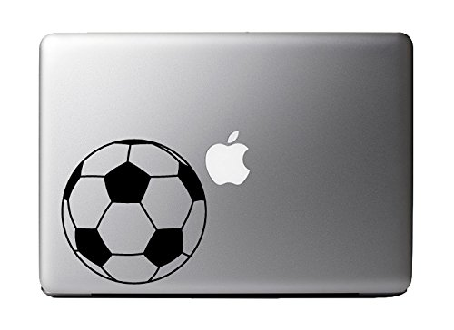 "Price comparison product image Soccer Ball Black Vinyl Decal Sticker for 13"" Macbook Laptop Computer"