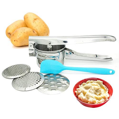 (Potato Ricer, Potato Masher, Food Press with 3 Interchangeable Discs for Potatoes, Fruit, Juice, Lemon, Orange, ground meat, mashed potatoes)