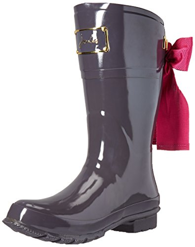 Joules Women's Evedon Short Rain Boot, Slate Grey, 8 M US by Joules