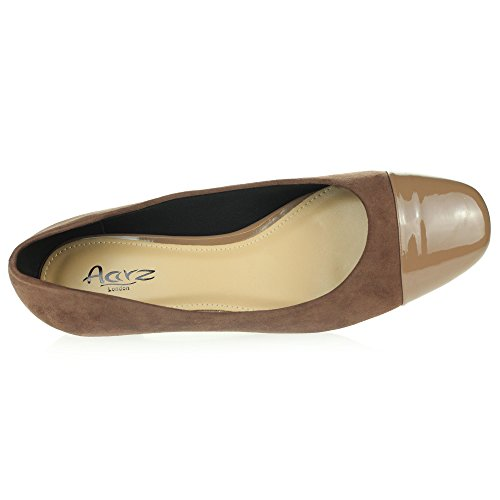 Schuhe Größe Closed Damen Flache Dolly Ballett Khaki Büroarbeit Toe Ballerinas Komfort Pumps Damen PAqxCnvwA