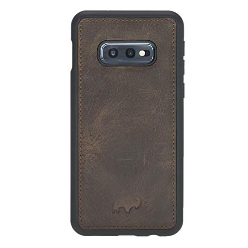 360 Degree Leather Snap Case Back Cover Designed for Samsung Galaxy S10e (5.8 inch), Burkley Case Hand-Wrapped in Premium Turkish Leather (Distressed Antique Coffee)