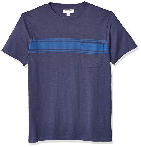 Goodthreads Men's Slub Placed-Stripe Crewneck T-Shirt, Bright Blue, Medium ()