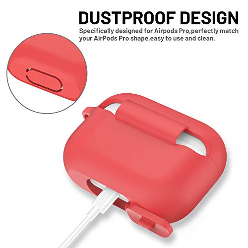 AirPods Pro Case, ATUAT Protective Silicone Cover Compatible with Apple AirPods Pro (2019) - Red