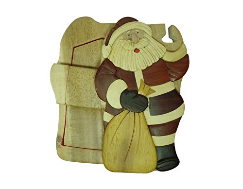 Santa Clause Christmas hand-carved puzzle box with No Paints! No Stains! Hidden felt lined interior that hides jewelry, gift cards, or money. No two will ever be identical! Pet Carvers (Santa Gift Card)