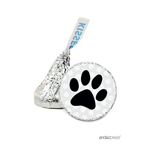 Dog Personalized Birthday Banner (Andaz Press Chocolate Drop Labels Stickers, Birthday, Cat Dog Animal Paw Print, 216-Pack, For Hershey's Kisses Party Favors, Gifts, Decorations)