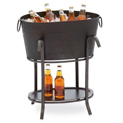Sunjoy Industries L-BT153PST Party Beverage Tub, Black Steel, 19-1/2 x 14.6 x 26.8-In. - Quantity 6 by Sunjoy Industries