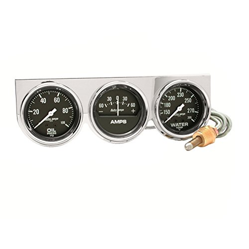 Auto Meter 2395 Autogage Black Oil/Amp/Water Gauge Chrome Console (Amp Chrome Black)