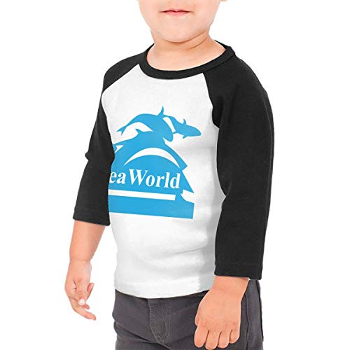 Unisex Baby Seaworld Logo Toddler's O Neck Raglan 3/4 Sleeve Baseball T Shirt for 2-6 Boys Girls Black ()