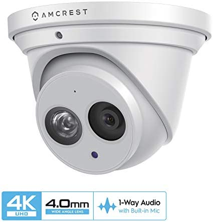 Amcrest UltraHD 4K 8MP Outdoor Security IP Turret PoE Camera, 3840×2160, 164ft NightVision, 4.0mm Narrower Angle Lens, IP67 Weatherproof, MicroSD Recording 128GB , White IP8M-T2499EW-40MM