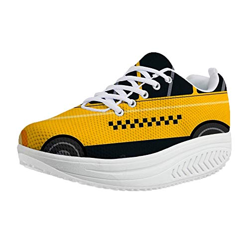(FOR U DESIGNS Womens Mesh Lace Up Platform Wedges Walking Sneakers Cartoon Car Pattern Sports Shoes US 9)