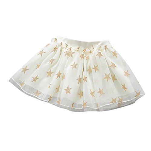 Fabal Cute Summer Baby Girls Stars Print Princess Skirt Party Dancing Tutu Gauze Skirt (90, Beige)
