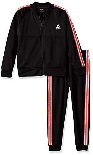 Reebok Boys' Little 2 Piece Athletic Track Suit Set, The The Warm Up Black, 4