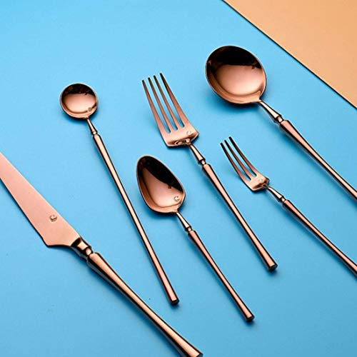 304 stainless steel cutlery Vintage Antique Gold Color Steak Western knife and fork household Six-St navigation use ck (Color: Rose Gold) (Color : Rose Gold, Size : -)