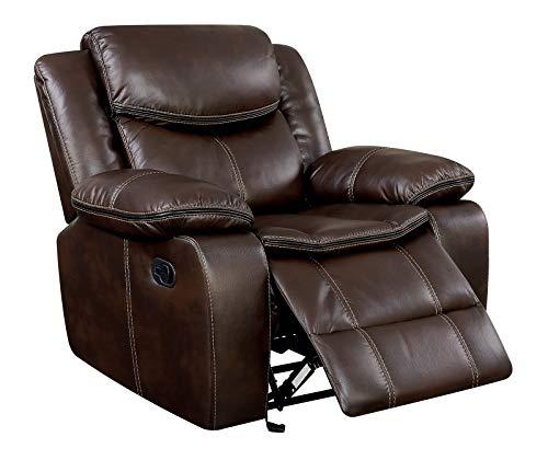 Benzara BM181385 Leatherette Glider Recliner Chair, Brown