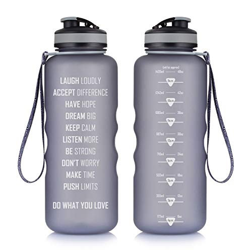 05af98781e Artoid Mode 48oz Motivational Fitness Workout Sports Water Bottle with Time  Marker & Measurements | Goal Marked Times Helps You Hydrate - Flip Top Non  Leak ...