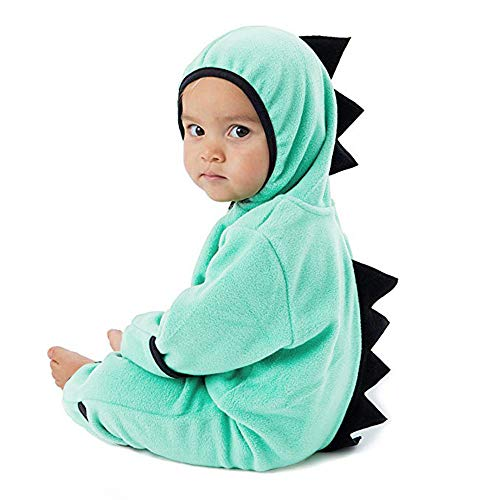 Clearance!!Toddler Infant Baby Girls Boys Cartoon Animals Romper Warm Hoodie Zipper Jumpsuit Party Costume Cosplay (Green-Dinosaur, 6-12 Months) ()