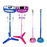 Aobiny Kids Karaoke Machine with 2 Microphones Adjustable Stand Music Play Toys Set for Fun Musical Effects (Blue)