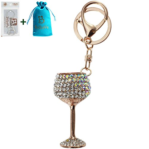 Bolbove Red/White Wine Glasses Shape Keychain Keyring Blingbling Crystal Rhinestones Purse Pendant Handbag Charm (Clear)