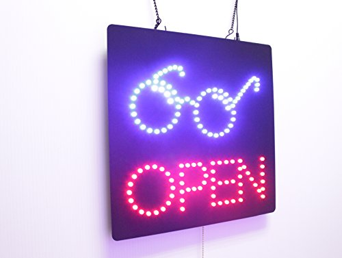 - Eye Glasses Open Sign, Super Bright Open Sign, Store Sign, Business Sign, Windows Sign