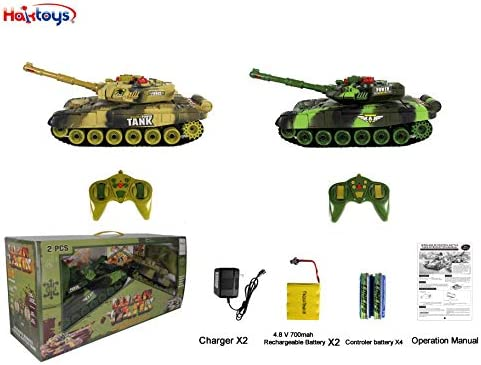 Haktoys RC 12'' Fighting Battle Tanks with LED Life Indicators, Realistic Sounds & Lights, Set of two Radio Control War Gaming Tanks, Great Gift Toy for Kids & Adult