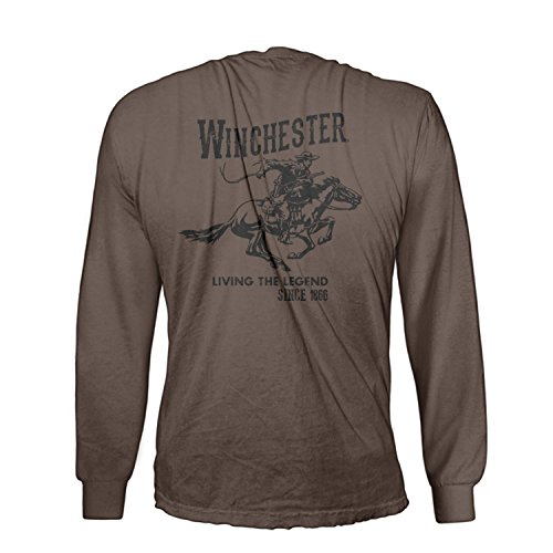 Official Winchester Mens Cotton Vintage Rider Graphic Printed Long Sleeve T-Shirt (XXL, Dark Chocolate)