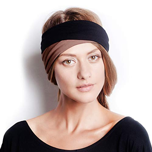 BLOM Original Multi Style Headband. for Women Yoga Fashion Workout Running Athletic Travel. Wear Wide Turban Thick Knotted + More. Comfort Style & Versatility. (Nutmeg & Black)