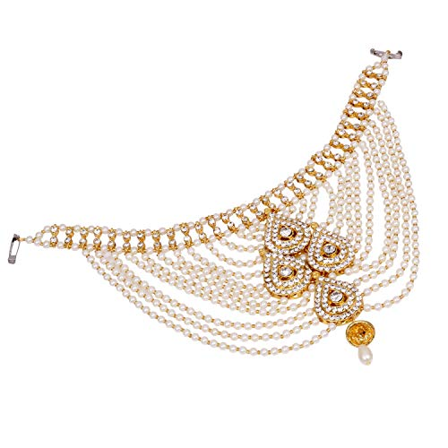 SANARA Jewellery Designer White Color Gold Plated Saree Sari Pearl Blouse Back Accessories Jewelry Brooch Pin for Girls & Women