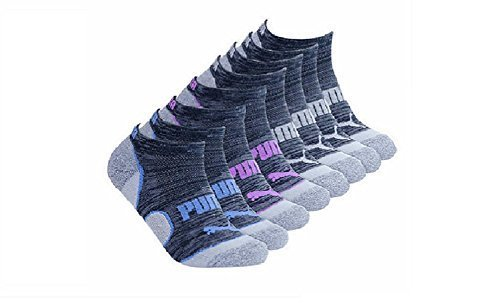 Puma No Show Women's Socks, Moisture Control Mesh Ventilation ( 8 Pair) (Black_Grey_Pink_Teal)
