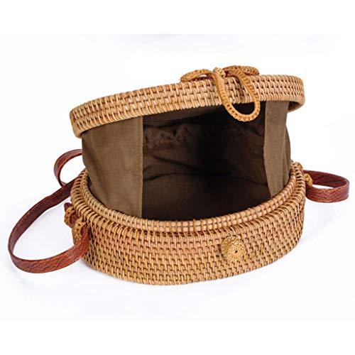 Women's Bag, Rattan Bag - Single Side - Sun Flower - Oval - Crossbody - Beach Bag Floral Lining - Hand-Woven Bag by BHM (Image #3)