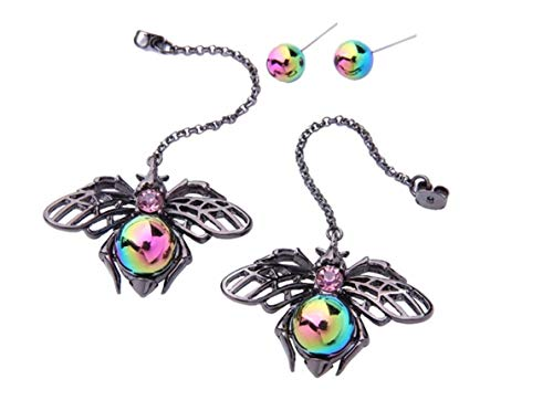 NORTHSTAR PEARLS AND JEWELRY: Black Color Bee Colorful Earrings for Adults, Long Drop Hang Dangle Earrings, Fashion Jewelry. Insects, Bugs Jewelry. (Bug Fashion Jewelry)