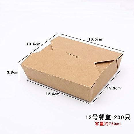 Descartables embalaje Kraft cajas de comida, cajas de almuerzo, merienda comida, rectangular de cartón con tapa,Nº 12 - 200 sólo: Amazon.es: Hogar