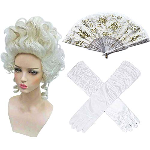 (Ladies 18Th Century Marie Antoinette Masked Ball Fancy Dress Accessories Versailles French Queen Wig Feather Fan Venetian Masks white set One Size Marie Antoinette)
