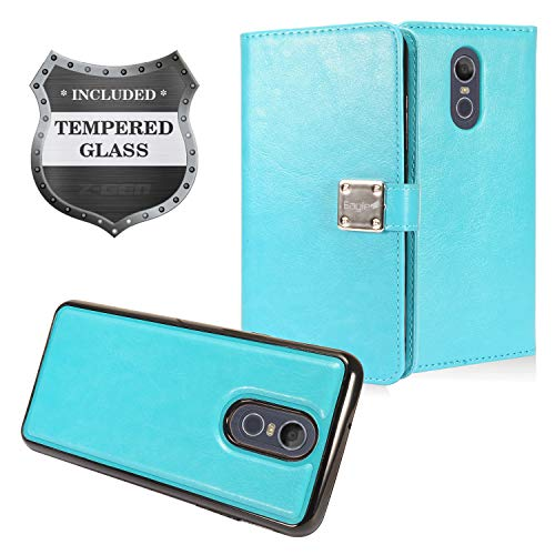 LG Stylo 4 (2018), Stylo4+ Plus, LM-Q710, LM-L713DL - Detachable Magnetic Flip Wallet Case + Tempered Glass Screen Protector - MW2 ()