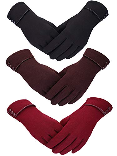 (Patelai 3 Pairs Women Winter Gloves Warm Touchscreen Gloves Windproof Plush Gloves for Women Girls Winter Using (Black, Wine Red, Brown))