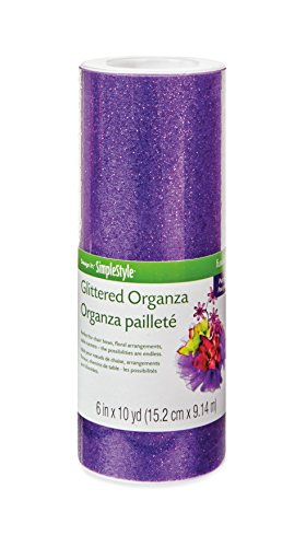 FloraCraft Organza Glitter, 6-Inch Wide by 10-Yard Length, Purple