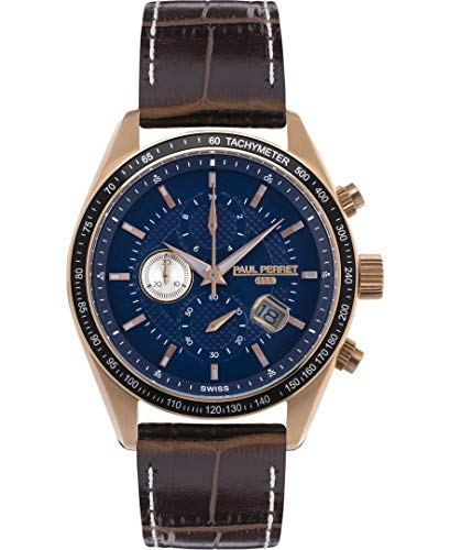 Paul Perret Esperto Mens Chronograph Watch - Dark Brown Leather Strap, Blue Dial, RG Case, Black Bezel