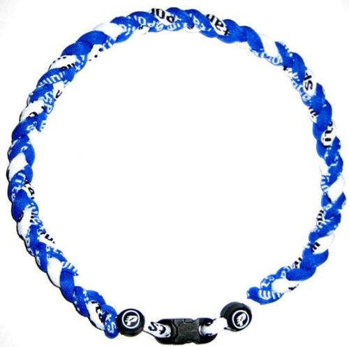 "Baseball Tornado Titanium Sports Necklace (Royal/White) 16"""