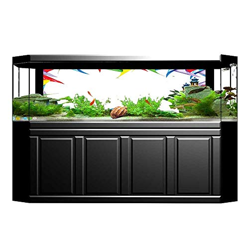 UHOO2018 Aquarium Collage Collection Colorful Windmill Square Frame Border Decorative Happy Gallery Child Art Red Ye Paper Fish Tank Backdrop Static Cling Wallpaper Sticker 23.6