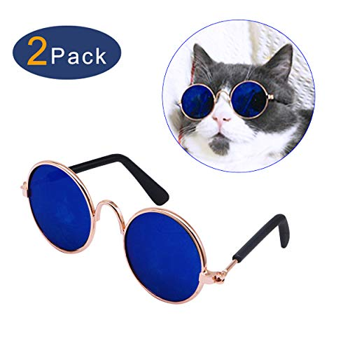 YAODHAOD Pet Dog Cat Sunglasses, Classic Retro Round Metal Prince Princess Sunglasses Puppy Katie Photo Props Toys(2 Pack) (Navy ()