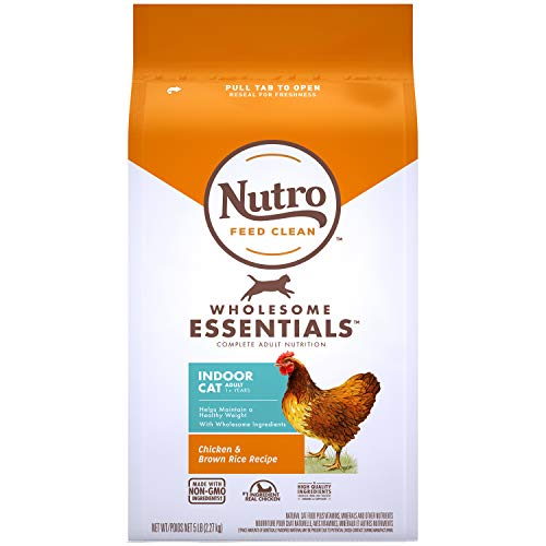 NUTRO WHOLESOME ESSENTIALS Natural Dry Cat Food, Indoor Cat Adult Chicken & Brown Rice Recipe, 5 lb. Bag
