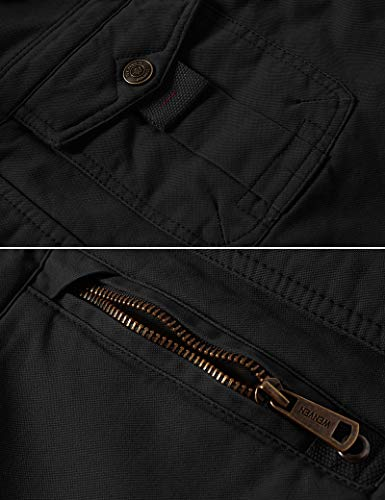 WenVen Homme Veste Décontractée à Capuche Hiver Chaud Manteau d'Extérieur Classique Veste Militaire Cargo Style Manteau…