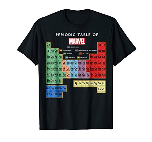 Marvel Ultimate Periodic Table Of Elements Graphic T-Shirt