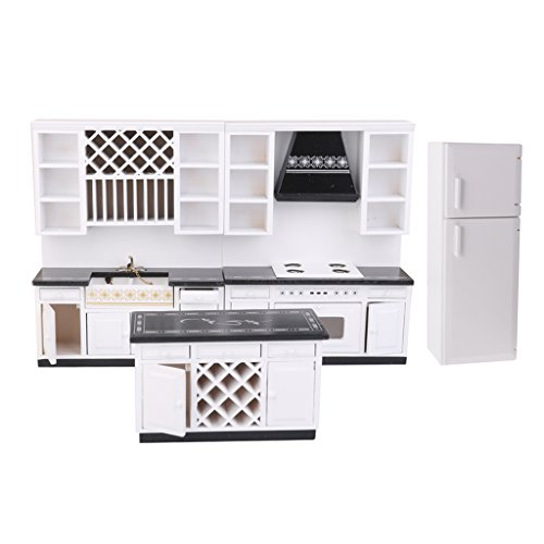 Baoblaze European Style 1/12 Dollhouse Cabinet Fridge Kitchen Dining Room Furniture Life Scenes Accessories