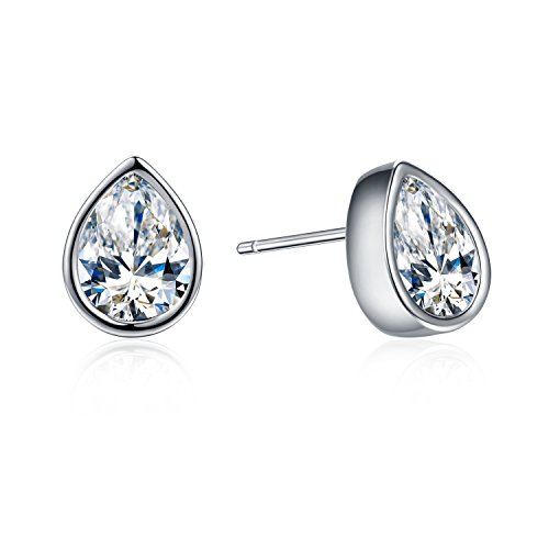 - SBLING Platinum-Plated Teardrop Stud Earrings Made with Swarovski Crystals (2 cttw;White Clear)