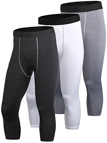 Yuerlian Men's 3 Pack Compression 3/4 Capri Shorts Baselayer Cool Dry Sports Tights